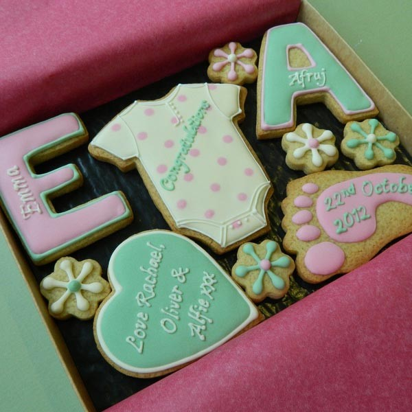 Baby gift personalised cookies