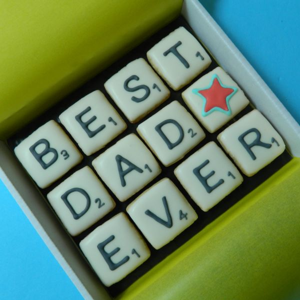 BEST DAD EVER Scrabble Cookie Card