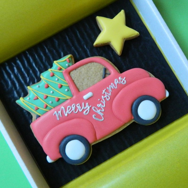 Christmas Truck and Tree Cookie Card