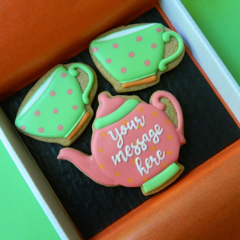 Teapot and Cups Cookie Card