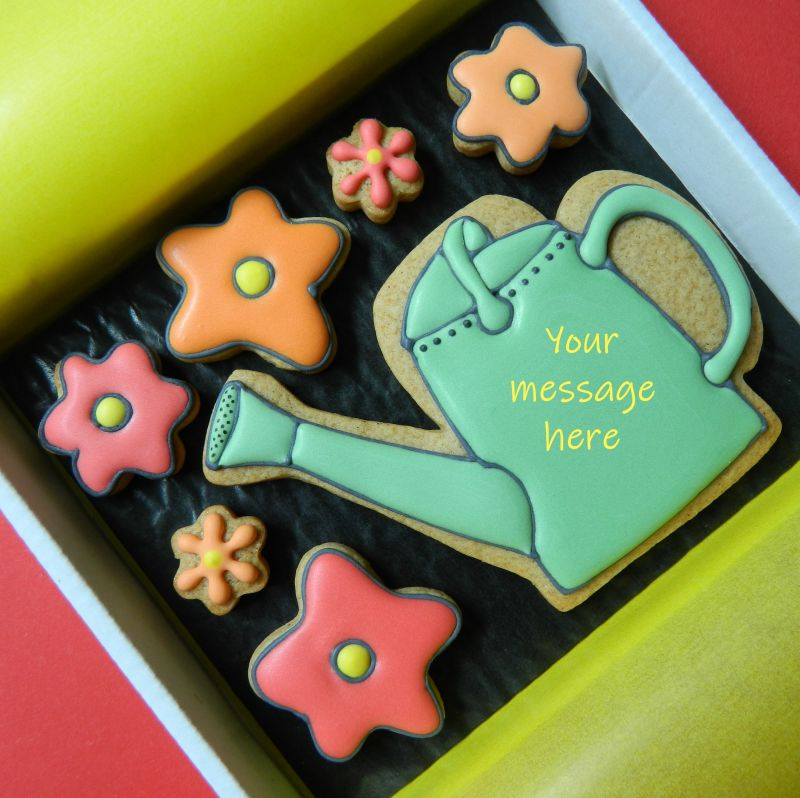 Watering Can and Flowers Cookie Card