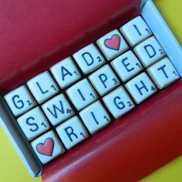 'Glad I Swiped Right' Letterbox Cookies