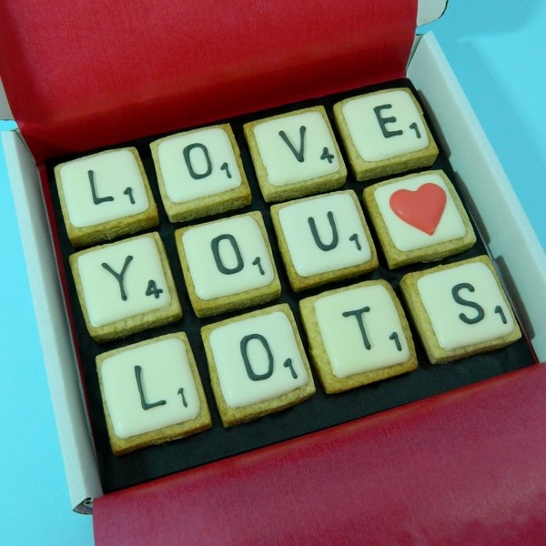 LOVE YOU LOTS Scrabble Cookie Card