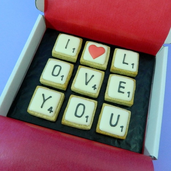 I LOVE YOU Scrabble Cookie Card