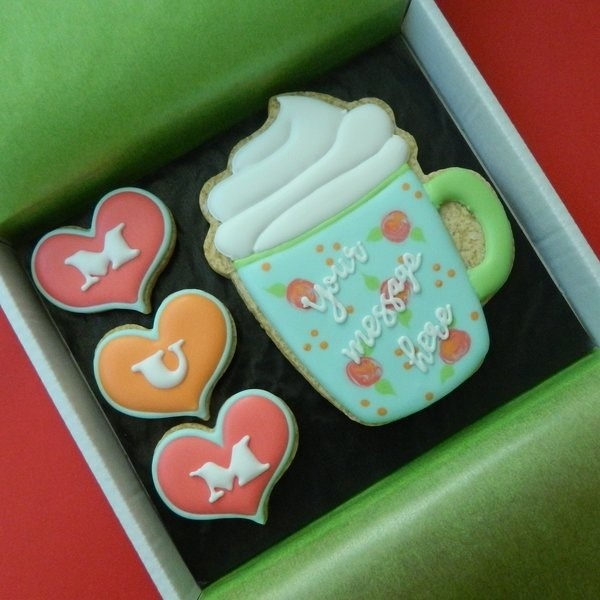 Mug and Hearts Cookie Card for Mum