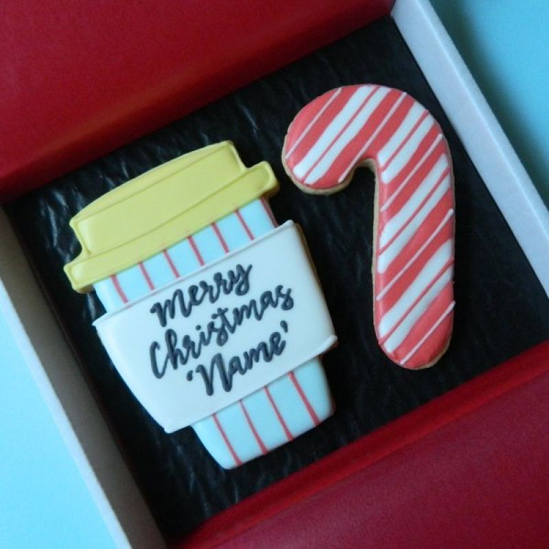 Coffee and Candy Stick Cookie Card