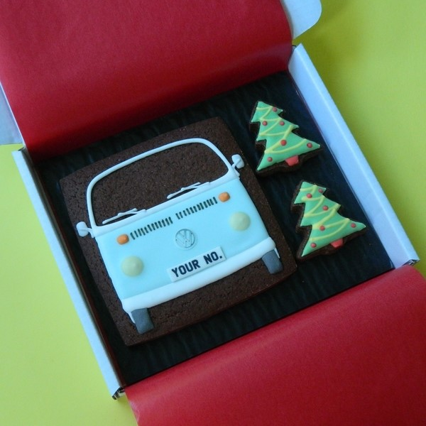 Type 2 Bay with Christmas Trees Cookie Card